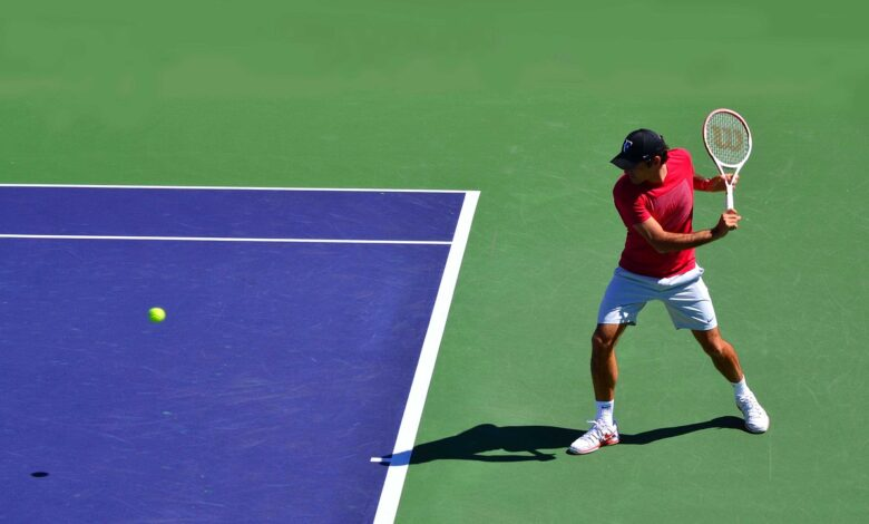 Federer playing on hard court